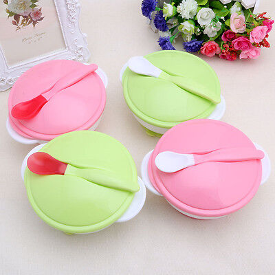 Baby Kid Toddler Suction Bowl Spoon Non-slip Temperature Colour Changing Feeding