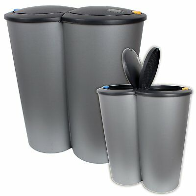 3 fach abfalleimer m lleimer treteimer eimer recycling step bin poubelles bucos eur 94 99. Black Bedroom Furniture Sets. Home Design Ideas