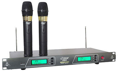 New Pyle 19 Rack Mount VHF Wireless Rechargeable 2 x Microphones System W/ Case