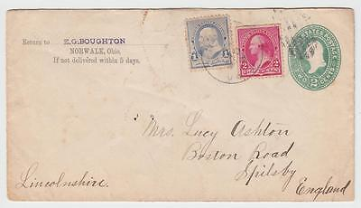 USA 1891 2c ENVELOPE UPRATED NORWALK OH TO SPILSBY LINCOLNSHIRE