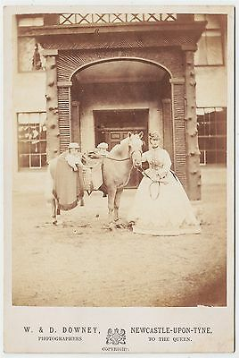 Royal cabinet photograph-ALEXANDRA, PRINCESS OF WALES with two sons on her horse