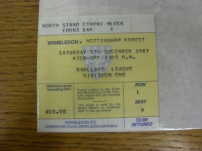 05/12/1987 Ticket: Wimbledon v Nottingham Forest (folded). Thanks for viewing th