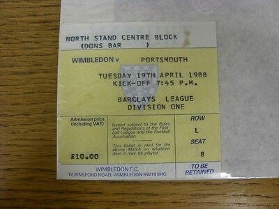 19/04/1988 Ticket: Wimbledon v Portsmouth (folded). Thanks for viewing this item