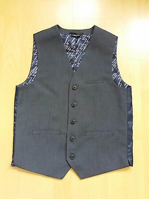 H311 Boys Next Sp 432-974 Grey Hound Tooth Smart 3 Pocket Waistcoat 12 Years 33""