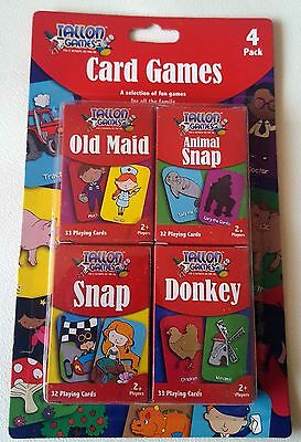4pc Snap Old Maid Donkey Playing Cards Game Kid's Children's Early Learning