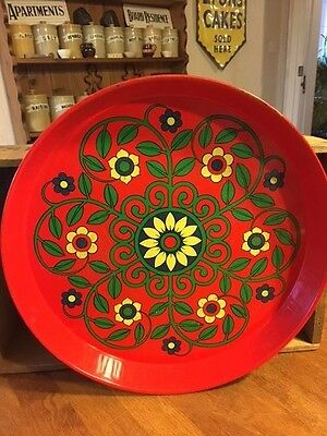 Vintage Red Patterned Round Serving Tray – Colourful Design – Retro! –