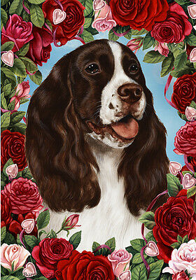 Garden Indoor/Outdoor Roses Flag - Liver & White English Springer Spaniel 190311