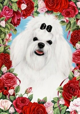 Garden Indoor/Outdoor Roses Flag - Maltese Pup 190411