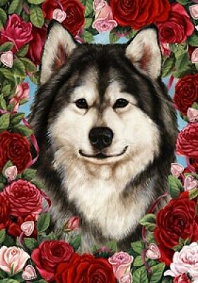 Garden Indoor/Outdoor Roses Flag - Alaskan Malamute 191471