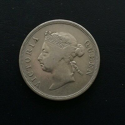 Straits Settlements 1899 Victoria 50 cents silver coin