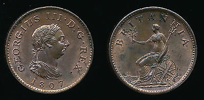 1807 George III FARTHING....VERY RARE in this Condition...Fast Post