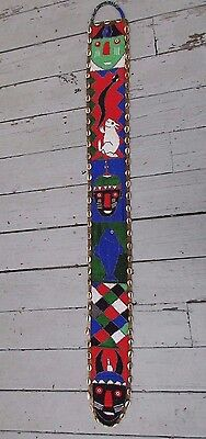 """large African beaded cowrie shell belt art panel wall hanging 57"""""""