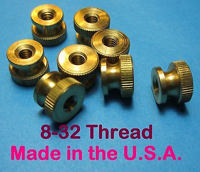 """Qty. 8 Brass Spark Plug Thumb Nuts 8-32 x 0.430"""" Dia. Top New Made in USA"""