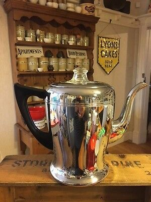 Vintage Swan Brand Savoy Large Chrome Coffee Pot / Cafetiere – Great! –