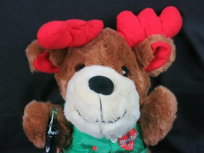 Big Coca-Cola Christmas Reindeer Green Vest Plastic Bottle Plush Stuffed Animal