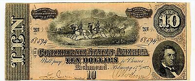 1864 $10 Confederate States Of America Cs-68  - Really Nice