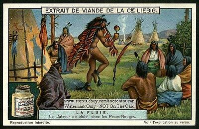 Native American Indian Rain Dance Weather 1920 Trade Ad Card