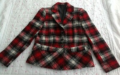 Vintage 90S Isle Ewm Red Black & Cream Blazer Jacket Tartan Size 12