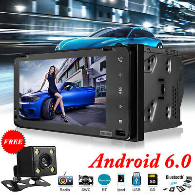 7'' 2DIN WIFI Bluetooth Android 6.0 Car MP5 Player Stereo GPS Dual-core FM/AM