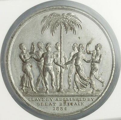 """1834, Great Britain, William IV. Rare """"Abolition of Slavery"""" Medal. NGC MS-61!"""
