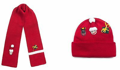 Kidorable Kids Red Knitted Xmas Scarf & Hat Boys Knitwear Winter Set Unisex Gift
