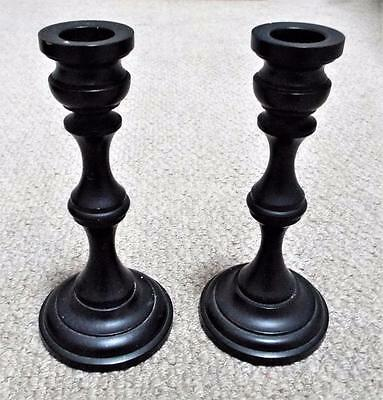 Antique Victorian Edwardian Ebony Dressing Table Pair of Candlesticks