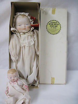 """Vintage 11"""" Bisque Doll & 5"""" Bisque Doll Christening dresses hand painted....mz"""