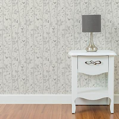 Dazzle Trees & Butterflies Glitter Wallpaper White & Silver Wall Decor Free P+P