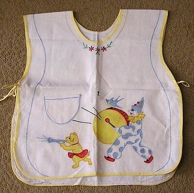Vintage Childs Bib Needlework Circus Clown and Bear 1950s