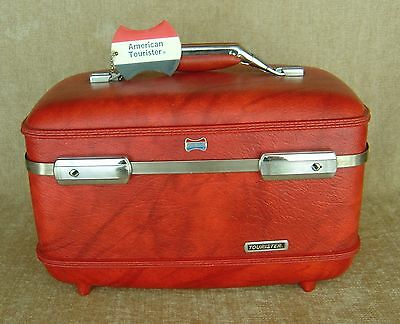 Vintage American Tourister Red Make Up Train Case Tray Mirror Tag Free Shipping