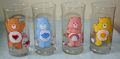 VINTAGE Set of 4 1983 Pizza Hut Care Bear Collectible Glasses
