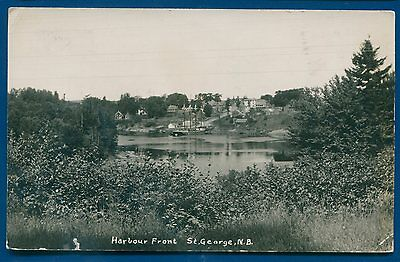 Harbour Front St George New Brunswick NB Canada real photo postcard RPPC