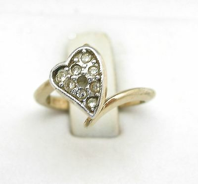 RHINESTONE HEART RING Vintage Goldtone  18KT HGE Gold Electropate Size 4 3/4