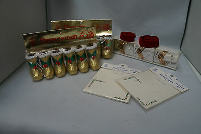 Vintage Glitter Christmas Stockings, Place Cards & Retro Match Boxes Lot