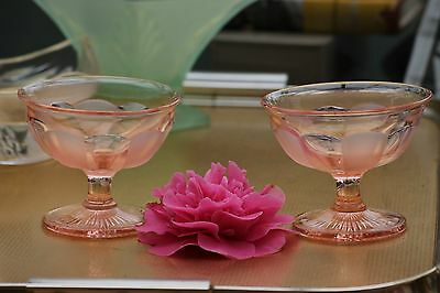Pair Art Deco  Pink Glass Stemmed Sundae Dishes / Fruit Trifle Bowls