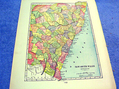 Antique Map Of New South Wales East     Nicely Colored & Historical From 1889