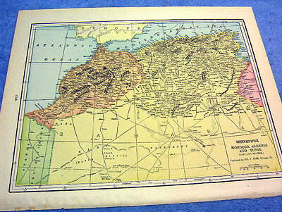 Antique Map Of Northwest Africa & Morocco, & More    Nicely Colored & Historical