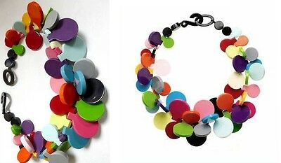Fabfrench Designer  Multi Color Resin Bib Necklace With Disc Elements