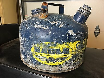Vintage Eagle Blue Galvanized Metal 1 Gal Kerosene - Gas Can Model 401 Used Tank