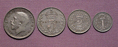 1921 ROYAL MINT KING GEORGE V SET MAUNDY COINS - Fourpence to Penny