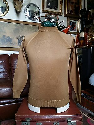 Vintage Rare 1960's Ivy League Mod  Zipped Turtle Neck Sweater Jumper,Small vgc