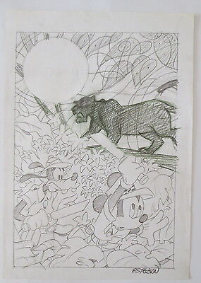Pagina Original Drawing Comic Art Page Disney Miki Mickey By Calvet Esteban