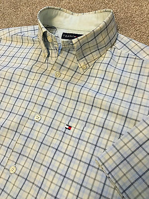 Tommy Hilfiger Blue / Yellow Check Vintage Fit Short Sleeve Summer Shirt S Small