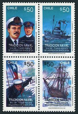 Chile 960 ad block,MNH.Michel 1430-1433. Rescue of Shackleton Expedition-75,1991