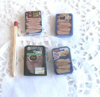 4 barquettes Aliment Factice Maison de Poupée Vitrine Doll House Food miniatures