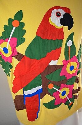 MACAW PARROT Panama Colorful Patch VTG 80s INDIE South American Yellow L T-SHIRT