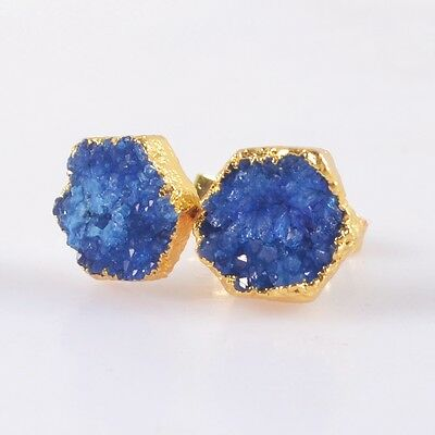 10mm Hexagon Blue Agate Druzy Geode Stud Earrings Gold Plated H91432