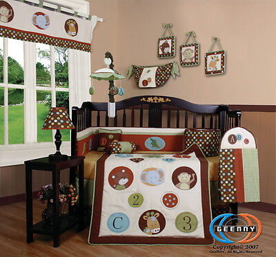 Baby Boutique Animal Scholar 13PCS Nursery CRIB BEDDING SET