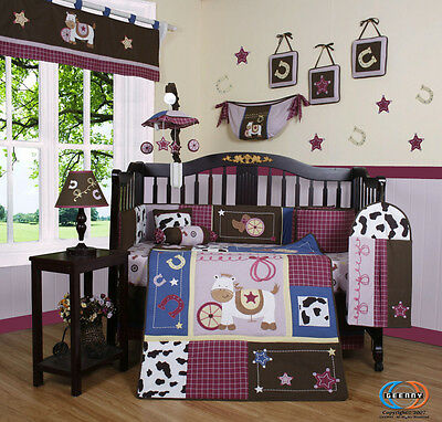 Baby Horse Western Cowgirl 13PCS Nursery CRIB BEDDING SET