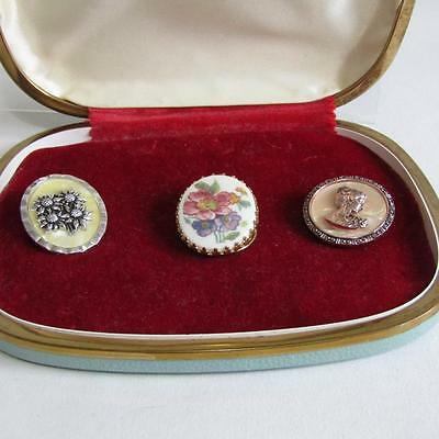 3 Vintage Scarf Clips - 1 Ceramic - 2 Faux MOP + Jewellery Box